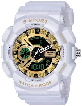 Piaoma Waterproof Series Analogue-Digital Golden Dial Boy's and Men's Watch - WhiteShock9094-5