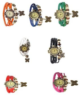 Pink designeer leather watch watch(Pack of 5)