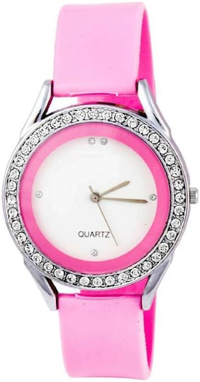 Pink  Dimond Ring dial same Belt watches for women