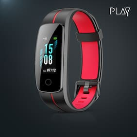 Play 53 Full Touch Fitness Band with 10 days Battery Life,24 Hr Heart & Steps Monitoring,Waterproof,Whatsapp Notification (Red and Black)