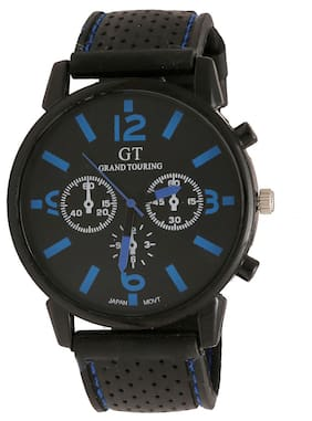 Popmode Black Blue Dial Silicone Strap Men's Casual Fashion Analog Watch