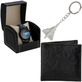 Popmode New Stylish Blue Modish Watch;Wallets and keychain combo for Men