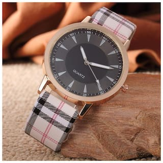 Popmode Black Dial Plaid PU Strap Women's Analog Designer Fashion Watch