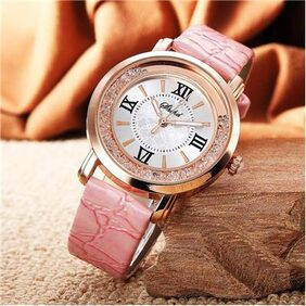 Popmode Rhinestone Rose Gold Pink Pu Strap Women Watch