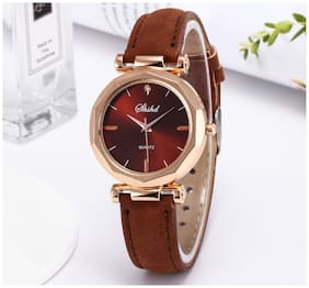 Popmode Rose Gold and Brown Dial With Brown Strap Women's Fashion Analog Watch
