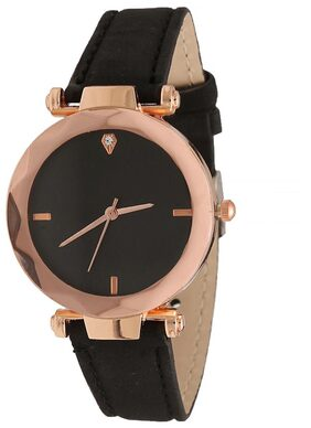 Popmode Rose Gold and Black Dial Black Strap Women's Fashion Analog Watch