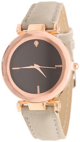 Popmode Rose Gold and Black Dial Grey Strap Women's Fashion Analog Watch