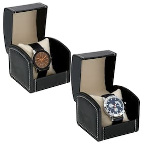 Popmode Stylish Cronograph Pattern Blue Leather Strap and Black Dial with Black Silicone Strap Watch Combo