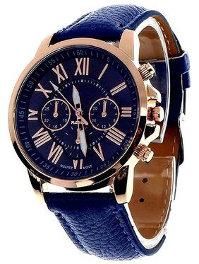 Prince Fashion Blue Color Lather Belt  Luxury Watch For Girl
