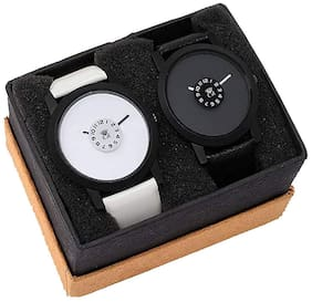 ClockRoom New Style Men Black Dial White Leather Strap Analog Watch - For Men
