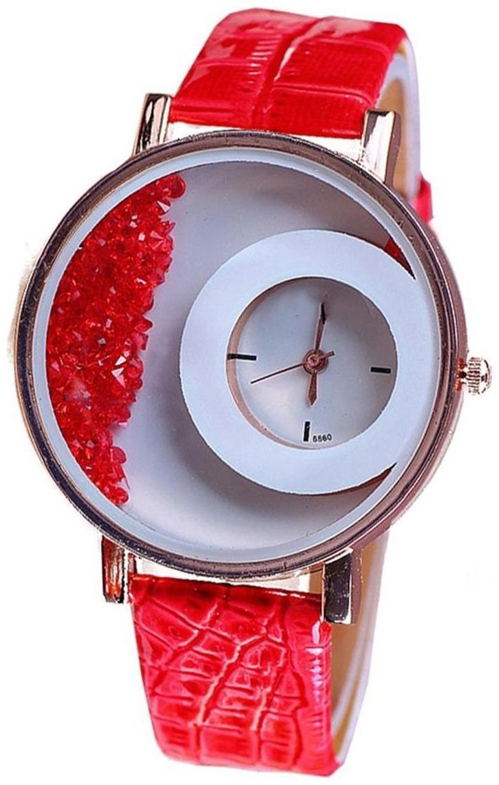 Prushti Enterprise Red Free Moving Diamonds Dial   Leather Strap Analog Watch by Niyati Fab