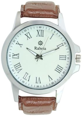 Rabela Analog watch white dial and brown strap watch