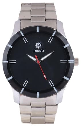 Rabela Analog men's watch Black Dial and Silver chain watch