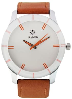 Rabela Analog men's watches white dial Brown strap watch