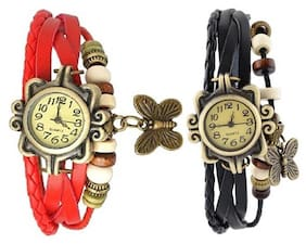 Red black designeer combo leather watch watch - SET OF 2(Pack of 5)