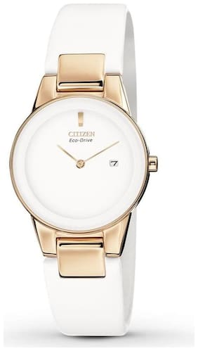Rose gold-tone watch in stainless steel with round minimalist dial and white leather band