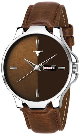 RUSTET Analogue Men's & Boy's Day and Date Watch (Brown Dial Brown Colored Strap,BRW395)