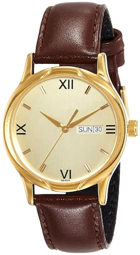 RUSTET Analog Leather Strap Day and Date Men's Boy's Watch