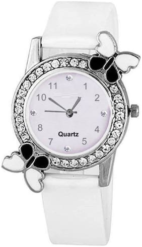 S k Pink diamond studded attractive butterfly stylish women Watch - For Girls Watch - For Women