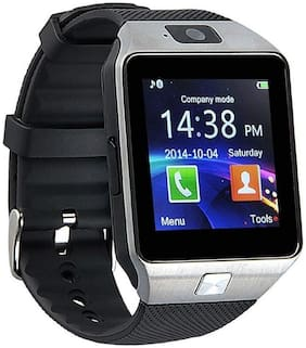 Samsung Galaxy Core Prime 4G Mobiles Bluetooth DZ09 Silver Wearable Smart Wrist Watch with Sim Card Compatible with Xiaomi Redmi BY TSV