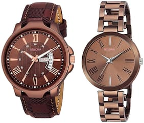 Selloria Brown Day and Date & Crystal Studded Men and Women Analog Watch - for Couple