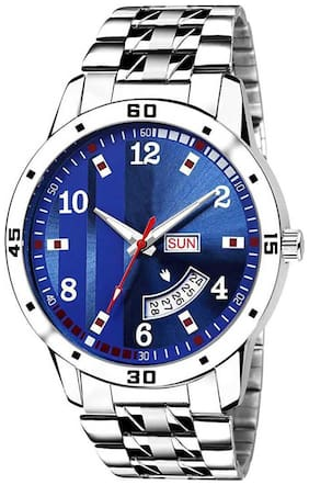 SENJARYA TIMES  New Stylish Blue Dial And Silver Metal Belt Day And Date Functional Analog Watch - For Men