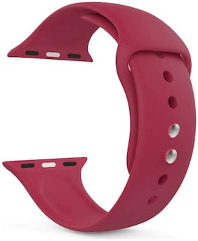 Silicone Sport Strap Loop Band For Apple Watch Series-5/4/3/2/1 Dial Size-38/40MM (POMEGRANATE)