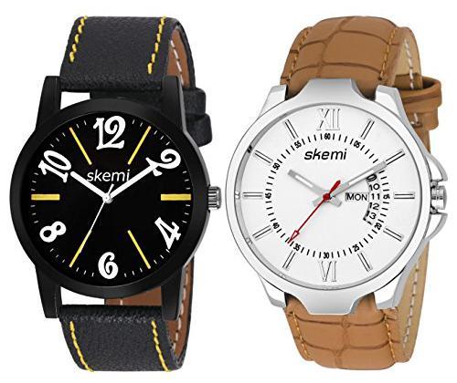 Skemi Analog Round Dial Men Watch/Fashionable Leather Belt Men Watch/Watches For Men Combo 043 by Mukesh Khaneja