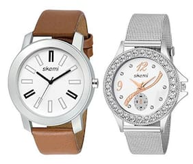 Skemi Analog Round White Dial Men-Woman Watch/Fashionable Couple Combo Watch/Watches For Couple Combo-052