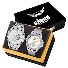 Skemi Analog Round White Dial Men-Woman Watch/Fashionable Couple Watch/Watches For Couple Combo-060
