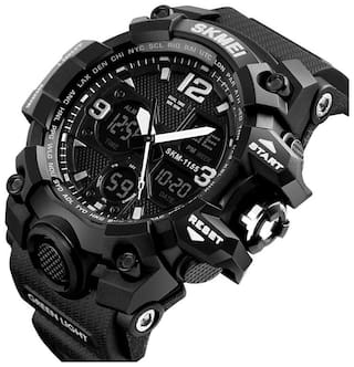 Skmei 1155 Black Outdoor Sports Dual Time Watch - For Men