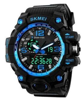 Skmei 1155 Blue Outdoor Sports Dual Time Watch - For Men