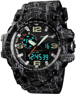 Skmei 1155 Grey and Black  Analog-Digital Watch For Men
