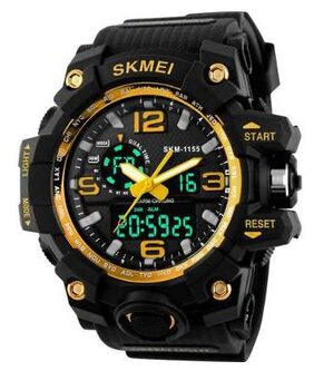 Skmei 1155 Yellow Outdoor Sports Dual Time Watch - For Men