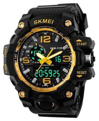 Skmei 1155 Yellow Outdoor Sports Dual Time Watch - For Men
