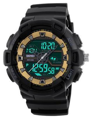 Skmei 1189 Gold Chronograph Water Resistant Analog Digital Sports Watch  For Men   Boys by Watches Mart