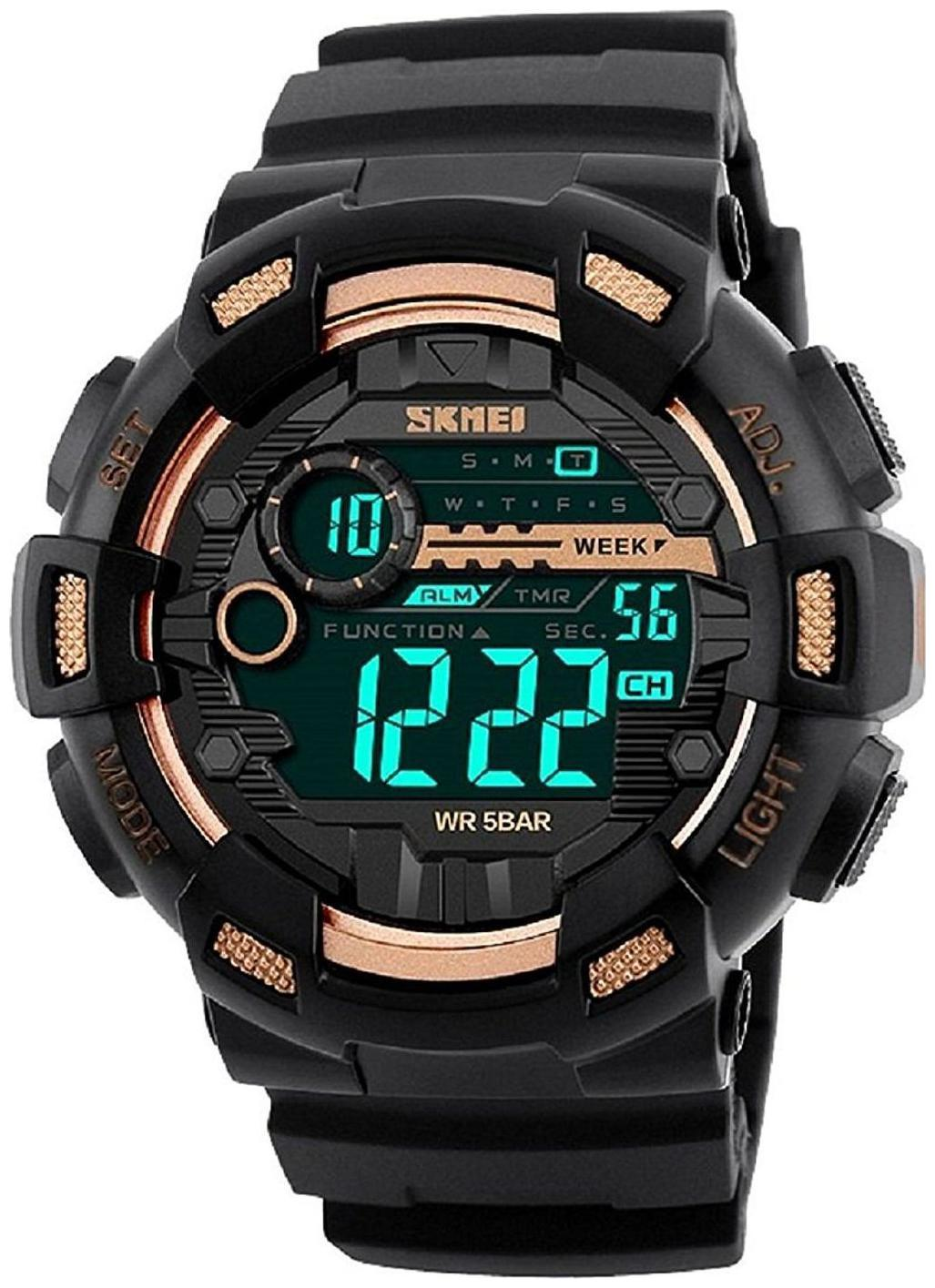 Skmei 1243 Gold Chronograph Water Resistant Digital Sports Watch  For Men   Boys by Watches Mart