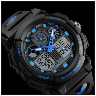 SKMEI 1270 BLUE COLOR ANALOGUE DIGITAL DIAL WITH PU BELT LIMITLESS FASHION FAST SELLING TRACK DESIGNER FANCY WATCH FOR HOLI DIWALI RAKHI GIFT SPECIAL WRIST WATCH FOR MEN & GUYS