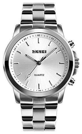 Skmei 1324 Silver Analog White Dial Bluetooth Smart Watch For Men