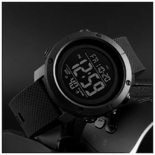 SKMEI 1426 BLACK  FULLY BLACK COLOR ANALOGUE WITH PU BELT LIMITED EDITION FAST SELLING TRACK DESIGNER WRIST WATCH FOR HOLI DIWALI RAKHI GIFT WATCH FOR GUYS & MANS