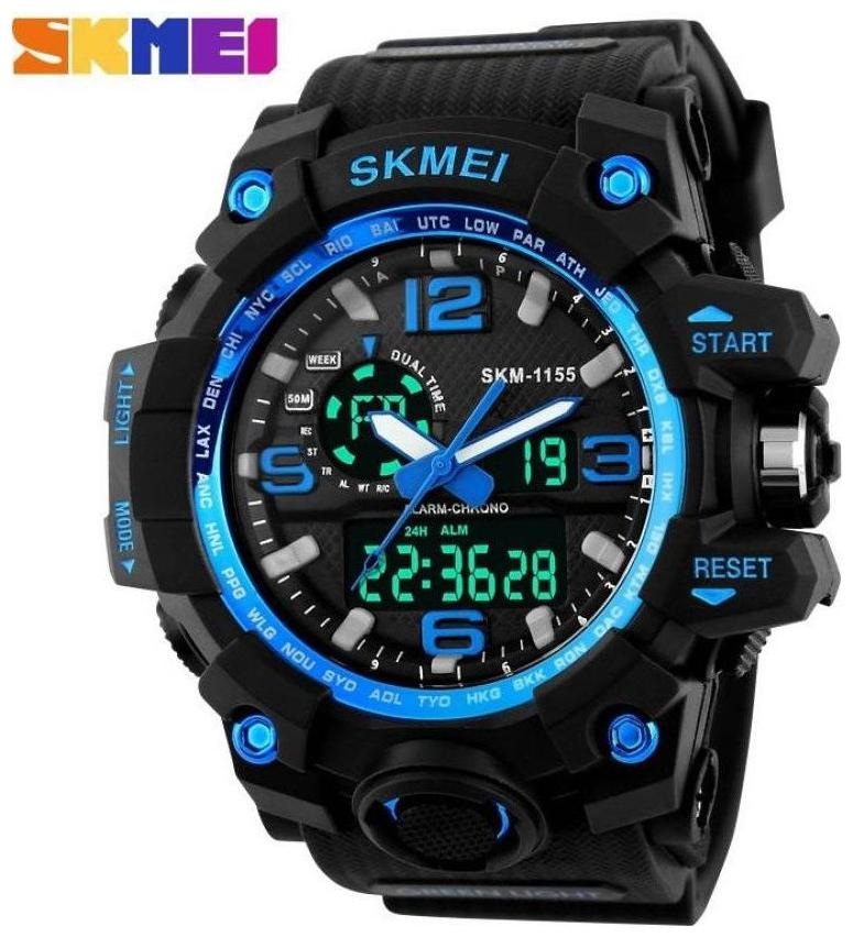 Skmei AD1155BLUE ANADIG Analog Digital Watch   For Men and Boys by Watches Mart
