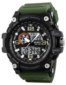 Skmei Analogue-Digital Black Dial Military Green Strap Men's & Boy's Watch