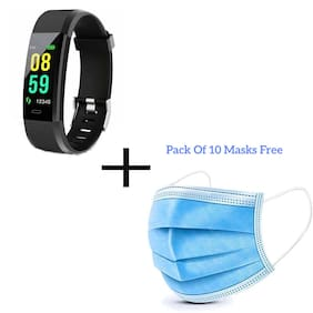 skmei Fitness Band Activity Tracker with Heart Rate Monitor iP67 Waterproof Smart Watch Bracelet Color Screen Sleep Monitor Fitness Tracker for Android or iOS Smartphones (Free 10 Masks)