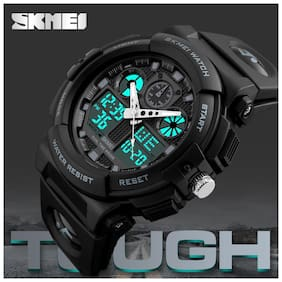 SKMEI Quartz Movement Analogue-Digital Multi-Functional Black Dial Men's Sports Watch