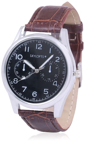 Skylofts 40mm Gold Dial Analog Men's & Boy's Leather Watches