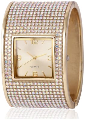 Skylofts 40mm Diamond Studded Silver Party Wear Watch for Girls