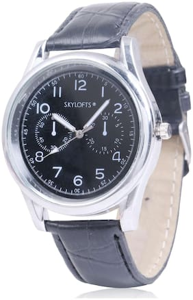 Skylofts Black Leather Strap Gold Dial Casual Watches for Men & Boys