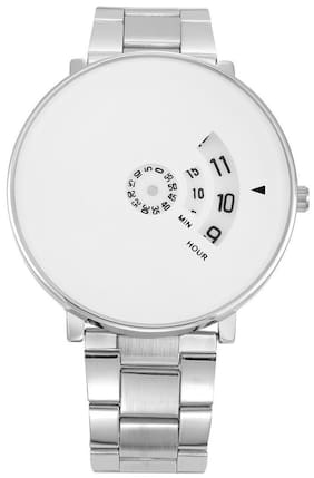 Skylofts Centre Rotating Time Machines White Dial Silver Formal Watch for Men & Women