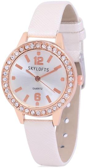 Skylofts Diamond Studded White Dial Formal Women Bracelet Watches for Girls