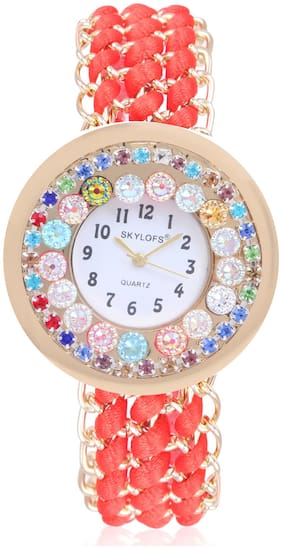 Skylofts Fabric Style Red Strap Diamond Dial Bracelet Women Watches - College Watches for Girls